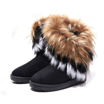 New Hot Women Winter Warm Mid-Calf Boots 2015 Winter Ladies Fashion Snow Boots Flock Leather Women Fur Boot Shoes BT3