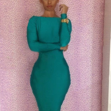 Green Casual Long Sleeve Bodycon Dress