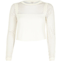 River Island Womens White mesh insert crop top