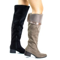 Pamela Taupe By Classified, Western Knee High Boots w Foldable Flap & Block Stacked Heel