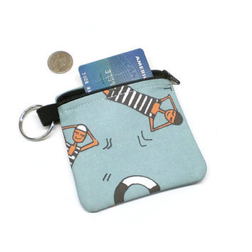 Whimsical people coin purse, zippered pouch, card holder, pouch key chain, change purse, coin bag, swimmer gift idea, pool theme gift