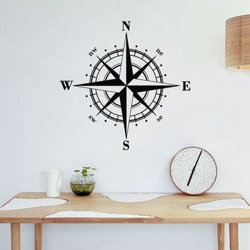 Compass Rose Wall Decal Nautical Wall Art Decor
