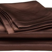 Royal Opulance Satin Queen Sheet Set, Chocolate