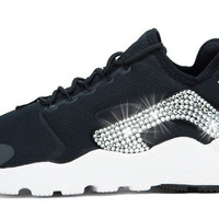Nike Air Huarache Ultra + Swarovski Crystals (Side) - Black/White