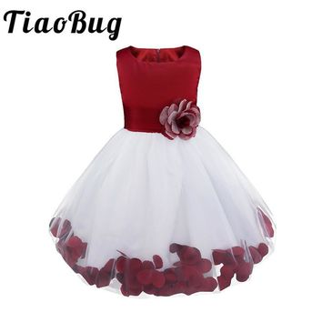 TiaoBug Brand New Flower Petals Dress Children Bridesmaid Elegant Dresses Princess Girls Pageant Prom Gown First Communion Dress
