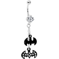 Stainless Steel CZ Batman Logo Dangle Belly Ring | Body Candy Body Jewelry
