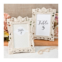 Ivory Table Number Frames Set of 2 - Size 4 x 6 - Gold Leaf Ornate Picture Frame - Wedding Favors Party Favor Victorian Bridal Shower