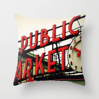 Pillow Cover, Seattle Public Market Center Throw Pillow, Rustic Industrial Red Neon Sign, Couch Bed Living Loft Home Decor 16x16 18x18 20x20