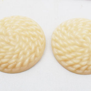 """Large Plastic Buttons 2"""", 2 Vintage Very Large Beige Buttons with Shank, Basket Weave Pattern, Project Buttons"""