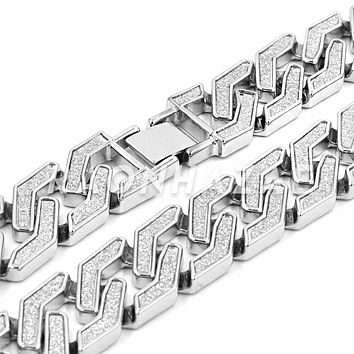 Iced Out 14K White Gold Plated Glitter SandBlasted Curb Hex 18mm Cuban Chain