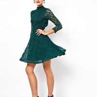 Dark Green Long Sleeve Lace Dress - Sheinside.com