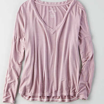AEO Soft & Sexy Drop Shoulder T-Shirt, Orchid Bouquet