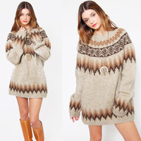 Vintage 70s FAIR ISLE Sweater Wool Oversized Earth Tone ICELANDIC Ski Sweater Knit Pullover Jumper