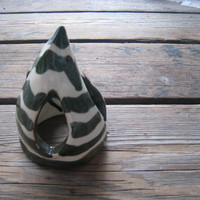 Green and White Fish Cave - Ceramic Fish House - Striped Aquarium Decor - Reptile Habitat Decor