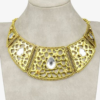 Seshet's Lore Huge Gold Plated Filigree Links Clear Diamante Rhinestone Bold Statement Necklace
