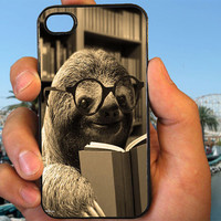 Sloth Reading Book case cover for iPhone 4 4S 5 5C 5S 6 6 Plus/Samsung Galaxy s3 s4 s5/Note 3/