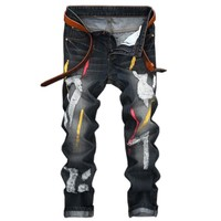 2017 Autumn Hole Retro Straight Men's Jeans Solid Casual Painting Fashion Male Pants Europe and America Style Men's Trousers