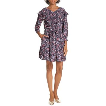 Toile Floral Ruffle Dress