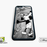 Mickey Mouse Steam Boat Willie Vintage Retro Disney Black White Custom iPhone Case 4, 4s, 5, 5s, 5c, 6 and 6 plus by Avallen