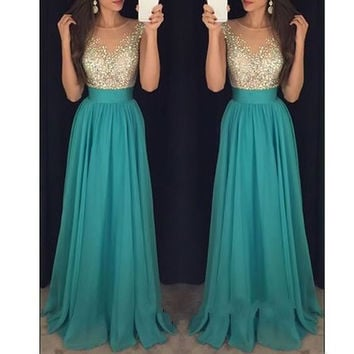 Sleeveless A-line Prom Dresses,Green Prom Dress,Long Evening Dress