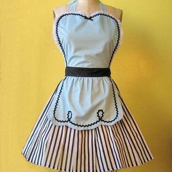 retro apron blue 50s DINER WAITRESS ... ice cream parlor fifties hostess or bridal shower gift womens flirty full aprons