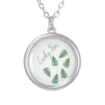 Green Fern Lucky Silver Plated Necklace