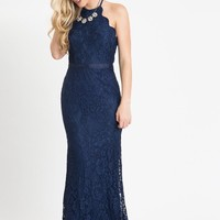 Amalia Navy Lace Maxi Dress