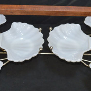 Milk Glass Shell Carousel Shrimp-Appetizer Serving Tray