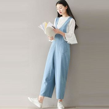 Vintage Women Sleeveless Off Shoulder Dungaree Bib Cargo Pants Wide Legs Overalls Coveralls Playsuit Jumpsuit Romper