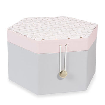 ZOE hexagonal jewellery box in cardboard H 12cm | Maisons du Monde