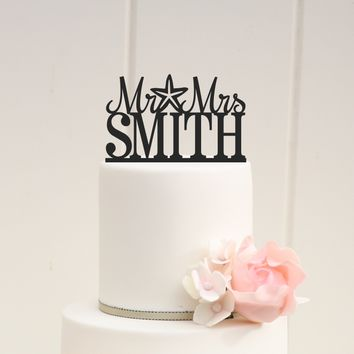 Mr. + Mrs. Starfish Wedding Cake Topper
