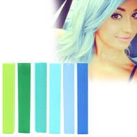 AIR | A pack of 6 Hair Chalks for your highly vibrant hair coloring - light green, dark green, light blue, dark blue, turquoise & minty