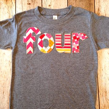 four lowercase fuchsia, red, orange yellow hot pink girls mix  Triblend Grey Hip Birthday Shirt 4 year old 4th fourth ideas cake party