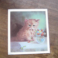 Vintage Kitten Print by Margaret McDonald Phillips; Long-Haired Tiger Kitten Caught Playing w/ Flowers; Midcentury Kitsch Cat Lithograph
