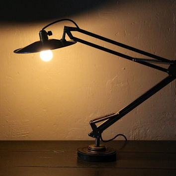 Industrial Desk Lamp, Task Light, Workshop Lamp, Architect Lamp 2 Arm