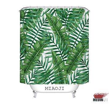 [MIAOJI] LOST IN THE JUNGLE Fabric Printed Shower Curtain Botanical Garden Tropical Green Leaves Bathroom Decor Free Shipping
