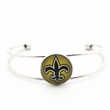 Newest 1pcs/lot Football glass New Orleans Saints Copper Bracelet Team Sports Silver Alloy expandable bracelets charms
