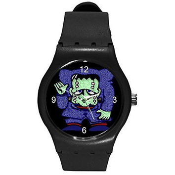 Halloween Frankenstein on a Boys , Girls Black Plastic Watch