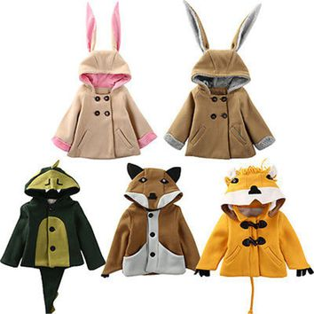 Fashion Winter Kids Baby Girls Boys Cartoon Cute Rabbit Bunny Dinosaur Lion Fox Style Hooded Warm Winter Coat Jacket Outwear
