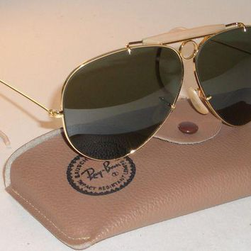 PEAPGQ6 CIRCA 1960's B&L RAY BAN GOLD PLATED BULLET HOLE SHOOTER AVIATOR SUNGLASSES NEW