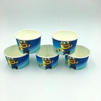 Minions ice cream cup cake cup kids favor birthday bowel Minions paper bowel ice cream cup happy birthday party supplies