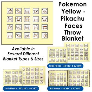 Pokemon Yellow, Pikachu Faces - Throw Blanket / Tapestry Wall Hanging