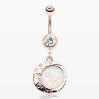 Rose Gold Opal Eclipse Moonshine Belly Button Ring