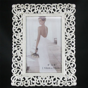 New Fashion Crystal White Wedding Home Decor Photo Frame Alloy Metal 4'' *6'' X3346