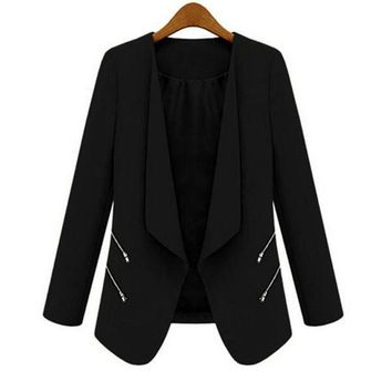 DCCKWJ7 Women OL Long Sleeve Slim Lapel Blazer Suits Jackets Casual Open Coats Blazers Outwear Terno 3 Colors  7993