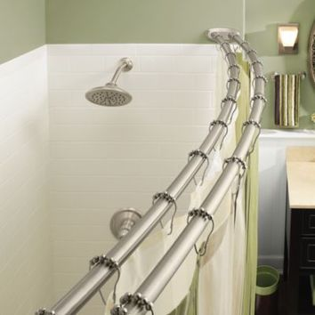 Moen® Adjustable Double Curved Brushed Nickel Shower Rod