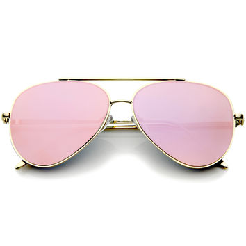 Modern Teardop Flat Lens Metal Aviator Sunglasses A318