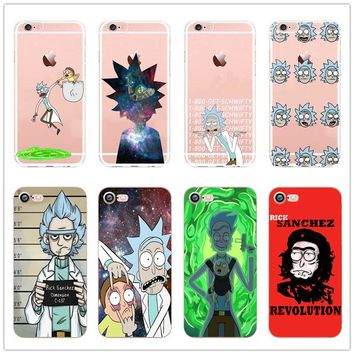 rick and morty Clear Cell Phone Case Cover For Apple iPhone 6 6S 5 5S 5C SE 6 6Plus 7 7Plus hard plastic shell