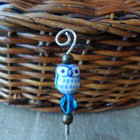 Hair Stick - Beaded Hair Accessories - Beaded Stick - Owl - Bird - Blue & Silver - Ceramic Glass - Woodland - Hair Jewelry - #272