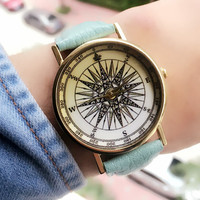 Vintage Leather Space Celestial body Watch Women Dress Quartz Watches + Gift Box